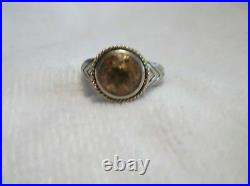 Designer Gold Crown Mark Sterling Silver & 18k Yellow Gold Faceted Citrine Ring