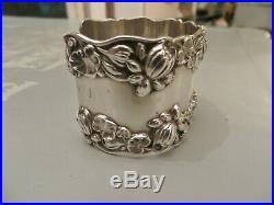 ESTATE Birmingham Marking WIDE Sterling Silver Repousse Lilies Cuff Bracelet