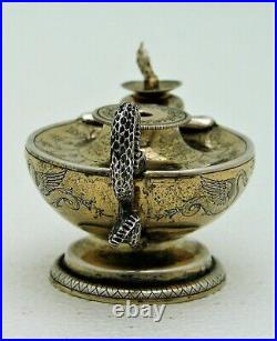 English Sterling Silver Oil Lamp with Figural Snake Handle Gold Wash Marked 1902