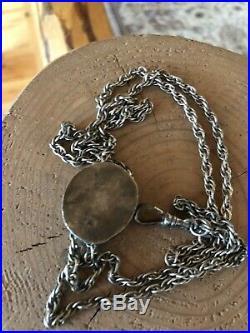 Estate Art Nouveau Face Watch Slide Chain Necklace Sterling Silver Makers Mark