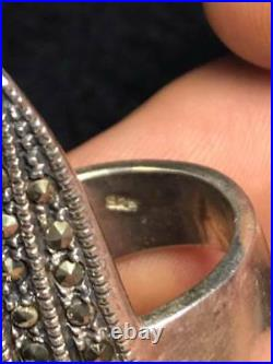 Full Finger Shield Statement Ring marked 925 unsigned Rhinestone Size 9