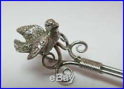 GORHAM Figural BIRD ON WIRE SPOONS SET STERLING SILVER Case 19th Century Marked