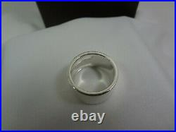 GUCCI Logo Ring Sterling Silver 925. Marked 18 / U. S. Size 8.75