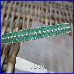 Gems Tv 925 Sterling Silver Bangle, Zambian Emerald 7.59 Ct, Diamonds, H/marked