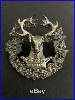 Gordon Highlanders WW2 Officers Sterling Silver Cap Badge Ludlow Maker Marked