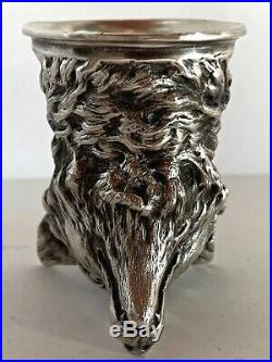 Gorgeous Russian Marked Sterling Silver Fox Head Stirrup Cup