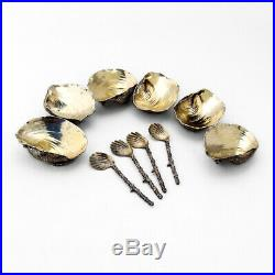 Gorham Narragansett 6 Open Salts 4 Spoons Set Sterling 1884 Date Mark