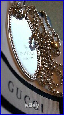 Gucci Authentic Sterling Silver Necklace Oval Ellipse Dog Tag Italy Marked