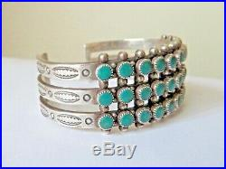 Harvey Era Marked Sterling Silver Zuni 3-Row Turquoise Snake Eye Cuff Bracelet