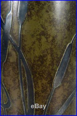 Heintz Exceptional Sterling Silver overlay on Bronze Vase Marked Ovington NY