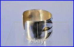 Hopi Sunface Bracelet, Sterling Silver Overlay Makers Mark RY