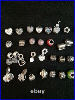 Huge Lot Of 41 Pandora Sterling Charms, Authentic And Marked