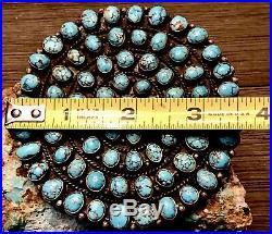 Huge Museum MARK CHEE Navajo Sterling Brooch With 72 Gem Blue #8 Turquoise 101+GR