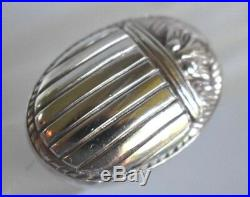 Huge Vintage Egyptian Revival SCARAB Beetle Marked Sterling Silver Size 5 Ring