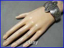 Important Vintage Navajo Gold Sterling Silver Geomtric Bracelet