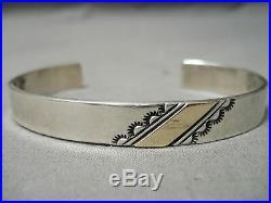 Incredible Vintage Navajo 14k Gold Sterling Silver Bracelet