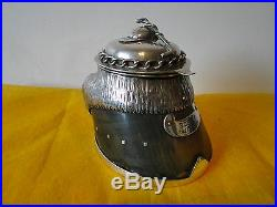 Ink Well, Horse Theme, Sterling Silver, Crop & Cap Finial, Mounted, Marked