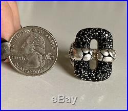 JOHN HARDY Silver Kali Lava Rectangular Pave Black Sapphire Marked Ring Sz 7