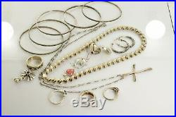 Jewelry Lot Sterling Silver All Marked 101.6 g Rings Bracelets Necklaces Etc