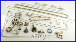 Jewelry Lot Sterling Silver All Marked 122.7 g Rings Bracelets Necklaces Etc