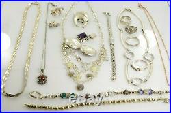 Jewelry Lot Sterling Silver All Marked 125.9 g Rings Bracelets Earrings ETC