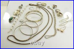 Jewelry Lot Sterling Silver All Marked 151.8 g Rings Bracelets Necklaces ETC