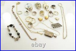 Jewelry Lot Sterling Silver All Marked 164.5 g Rings Bracelets Earrings ETC