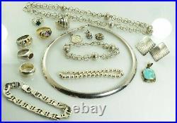 Jewelry Lot Sterling Silver All Marked 173.3 g Rings Bracelets Earrings ETC