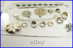 Jewelry Lot Sterling Silver All Marked 189.8 g Rings Bracelets Earrings ETC