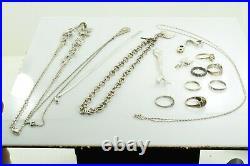 Jewelry Lot Sterling Silver All Marked 94.4 g Rings Bracelets Earrings ETC