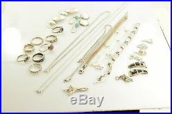 Jewelry Lot Sterling Silver All Marked 97.9 g Rings Bracelets Earrings ETC