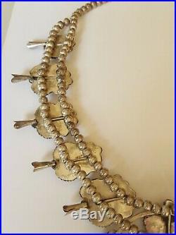 Large Kingman Tourquoise Silver Squash Blossom Necklace 314 gr. J mark No Res