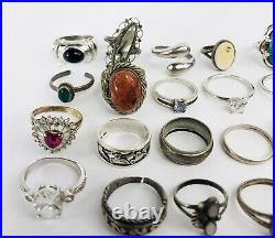 Lot Of 42 Vintage Marked And Unmarked 925 Sterling Silver Multi-Stone Rings