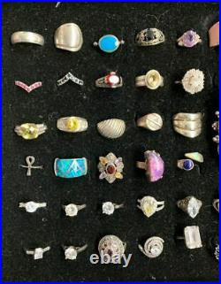 Lot Of 59, 99% Mark Sterling Silver Pre-Owned Rings. M