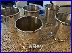 Mark J Scearce Sterling Silver Set of 5 Mint Julep Cups LBJ 23+ Ozt Great Set