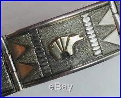 Mark Yazzie Navajo Native American Sterling Silver & 14k Yellow Gold Bracelet