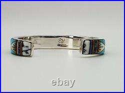 Marked Sy Southwestern Style Inlaid Stone Art Cuff Bracelet Sterling Silver 925