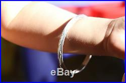 Marked Tahe Vintage Native Sterling Silver Navajo Hand Stamped Cuff Bracelet