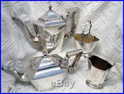 Meriden Sterling Silver Hand Hammered Coffee Tea Set C-1898- Heat Wafers No Mono