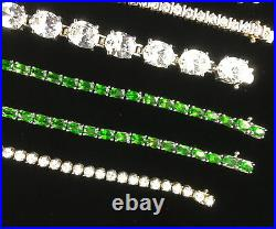 Mixed Lot Of Sterling Silver 925 Faceted Bracelets, All Marked, Pendants Signed