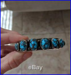 Museum Mark Chee Hallmarked High Grade Turquoise Navajo Sterling Silver Bracelet