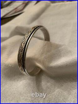 Native American Mark Jimenez Sterling Silver Cuff Bracelet Signed MJ