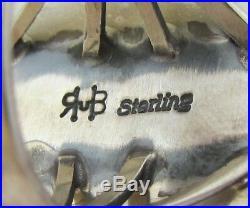 Native American Navajo Sterling Gaspeite Ring Size 9 Signed Mark Spencer