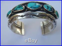 Navajo Mark Chee Hallmarked 5 Stone Silver Bracelet-Heavy