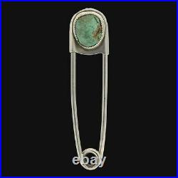 Navajo Old Pawn Artist Marked Sterling Silver Turquoise Safety Pin Keychain