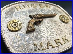 Nice Vintage Sterling Silver RUGER Pistol Gun 44 Remington Belt Buckle MARK JML
