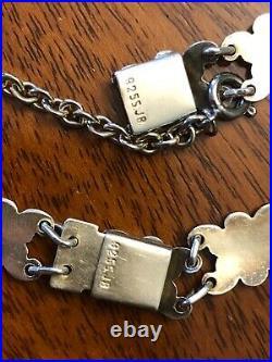 Norway 925S Sterling Enamel Daisy Flower Necklace & Bracelet Marked JB 1950s