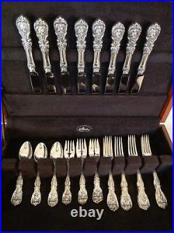 OLD MARK+H REED & BARTON FRANCIS I STERLING SILVER 32pc for8 FLATWARE SET+CHEST