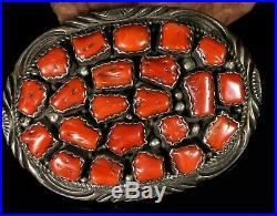 OLD Pawn Vintage Navajo RED CORAL Cluster Sterling Mark Yazzie Belt Buckle