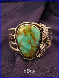 Old Pawn Navajo Sterling Silver Royston Turquoise Cuff Bracelet Heavy marked PP